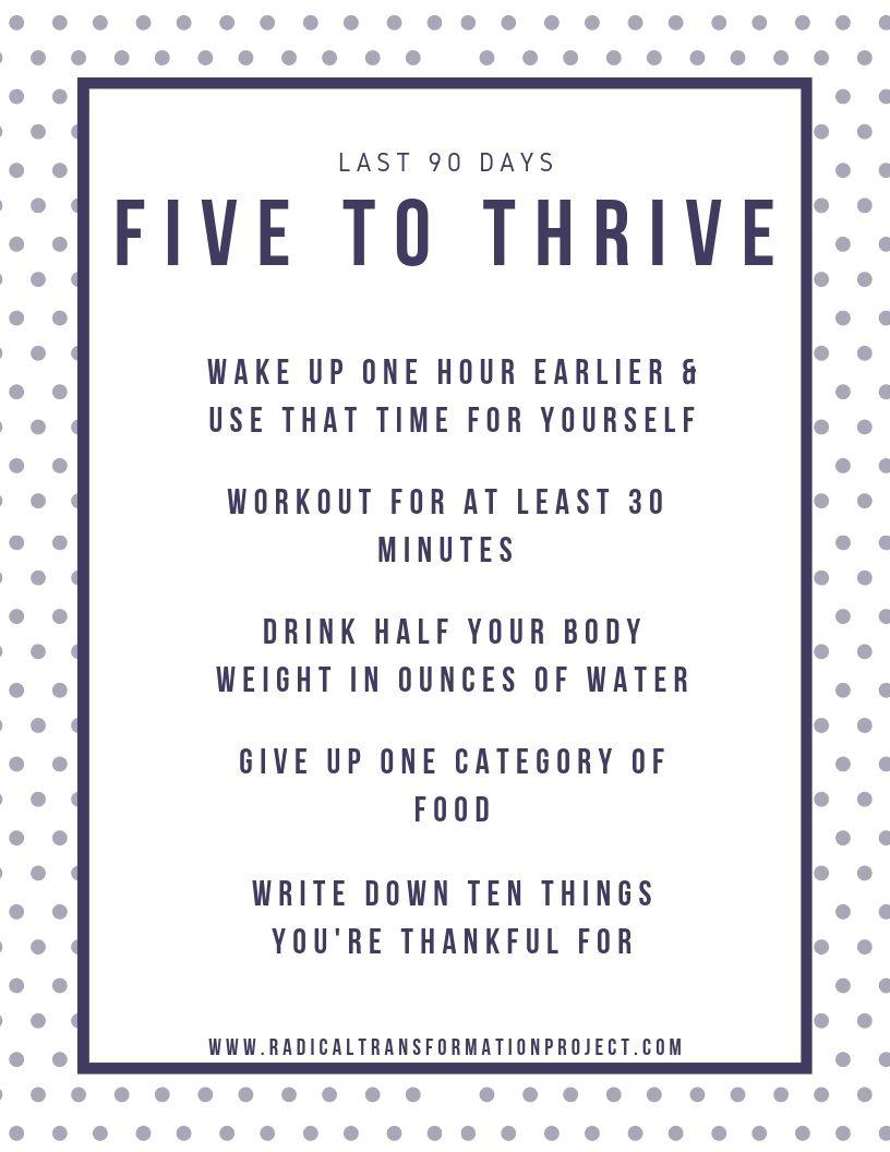 five to thrive last 90 days printable